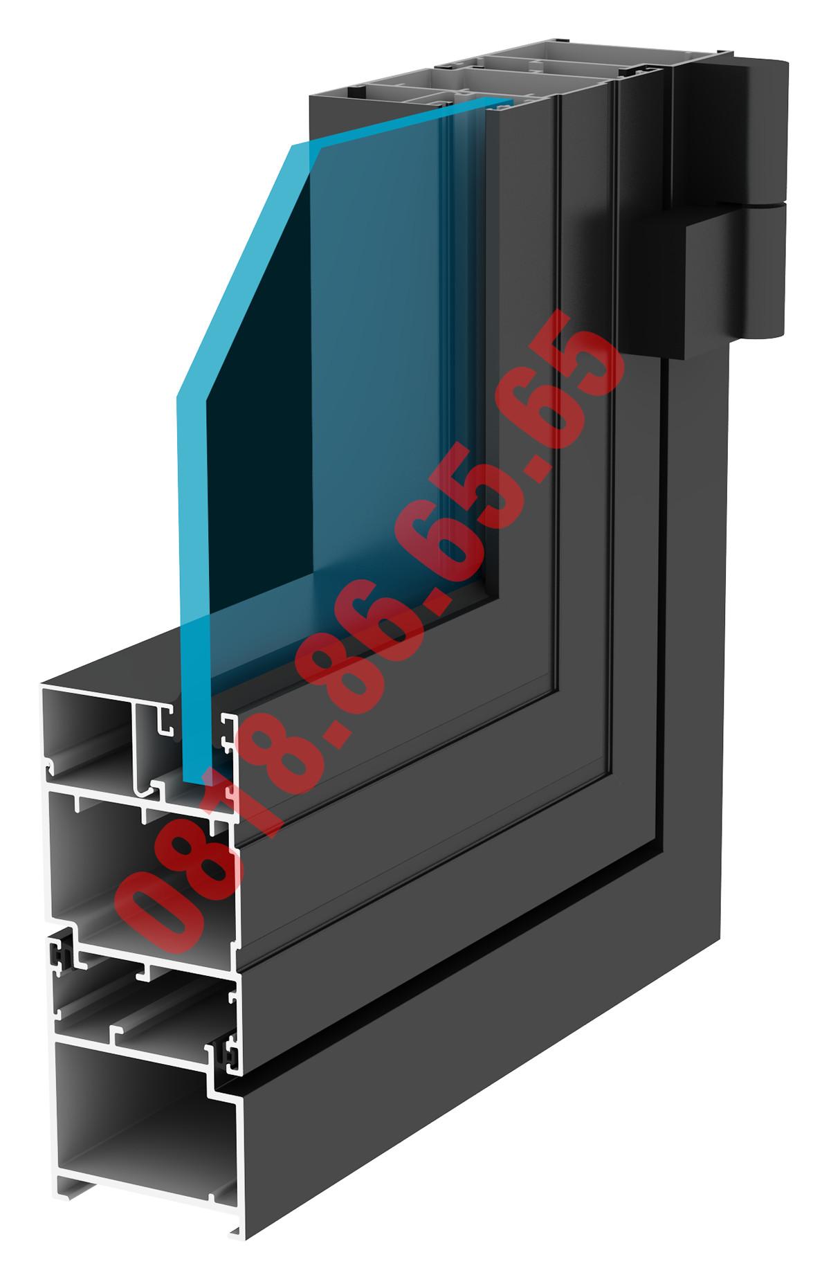 Hình ảnh mặt cắt cửa đi mở quay Xingfa