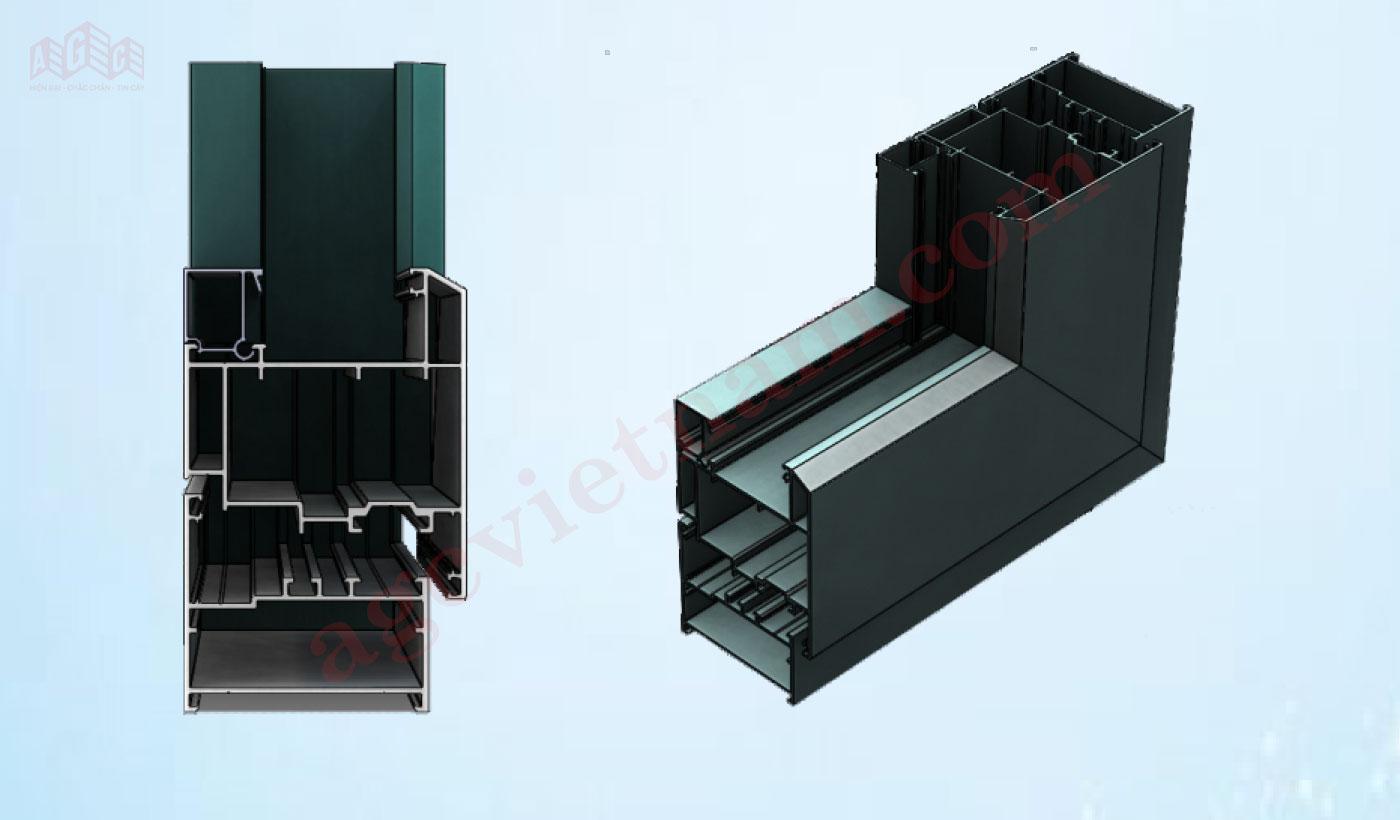 Mặt cắt nhôm HOPO65 cho hệ cửa đi, cửa sổ mở quay